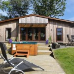 Ash Lodge sun deck - Lon Lodges, Rhayader, Powys, Mid Wales