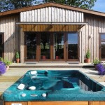 Hot tub at Ash Lodge - Lon Lodges, Rhayader, Powys, Mid Wales