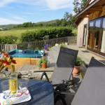 Ash Lodge patio and view -Lon Lodges, Rhayader, Powys, Mid Wales